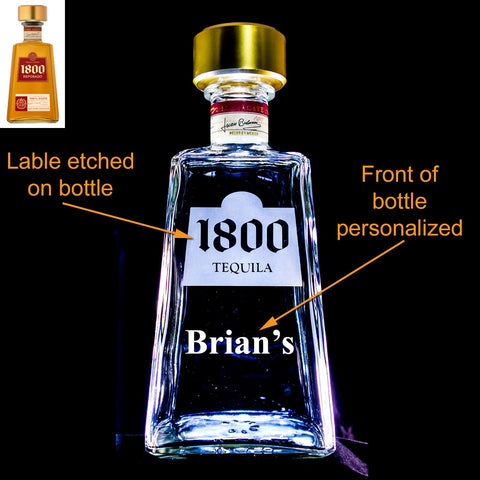 1800 Tequila Custom Engraved & Personalized Bottle Decanter, Empty Decanter Liquorware Gifts