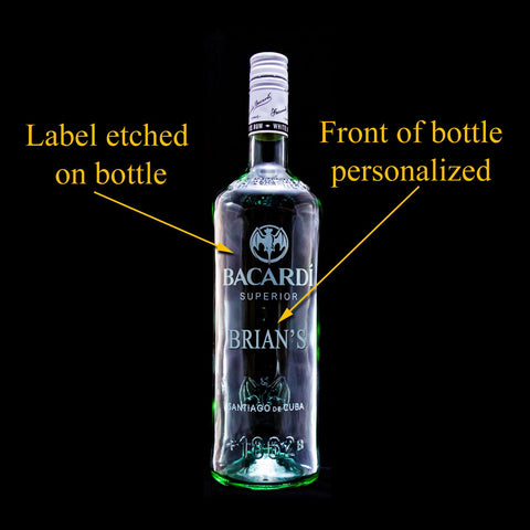 Bacardi Rum Custom Engraved & Personalized Bottle Decanter, Empty Decanter Liquorware Gifts