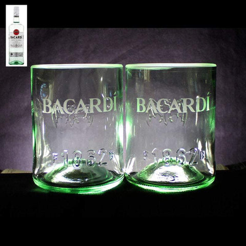 Bacardi Rum Premium Rocks Glasses (Set of 2) Custom Engraved & Personalized Rocks glass Liquorware Gifts