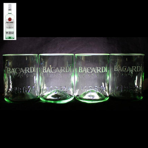 Bacardi Rum Premium Rocks Glasses (Set of 4) Custom Engraved & Personalized Rocks glass Liquorware Gifts