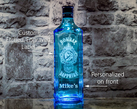 Bombay Sapphire Gin Custom Engraved & Personalized Bottle Decanter, Empty Decanter Liquorware Gifts