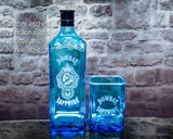 Bombay Sapphire Gin Premium Rocks Glass - Custom Engraved &Personalized Rocks glass Liquorware Gifts