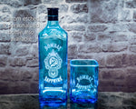 Bombay Sapphire Gin Premium Rocks Glasses (Set of 2) Custom Engraved & Personalized Rocks glass Liquorware Gifts