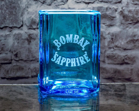 Bombay Sapphire Gin Premium Rocks Glasses (Set of 4) Custom Engraved & Personalized Rocks glass Liquorware Gifts