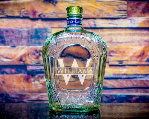 Crown Royal Custom Monogrammed Whiskey Decanter Personalized Engraved Gift, Empty Decanter Liquorware Gifts