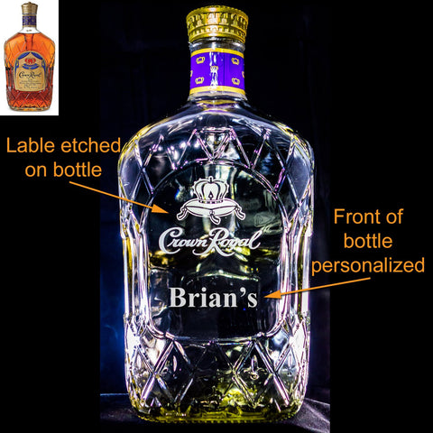 Crown Royal (Large) Whisky Custom Engraved/Etched & Personalized Bottle, Empty Decanter Liquorware Gifts