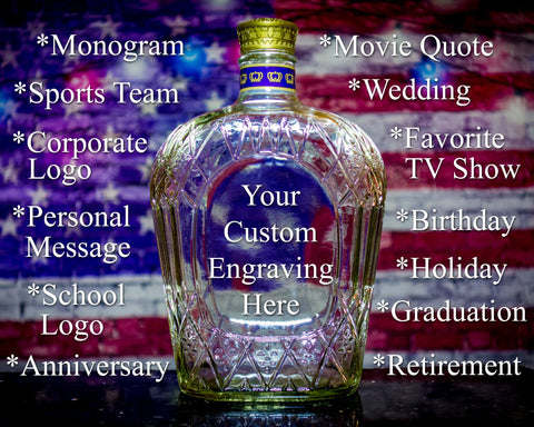 Crown Royal Whiskey Bottle Decanter Custom Engraved For Any Occasion, Empty Decanter Liquorware Gifts
