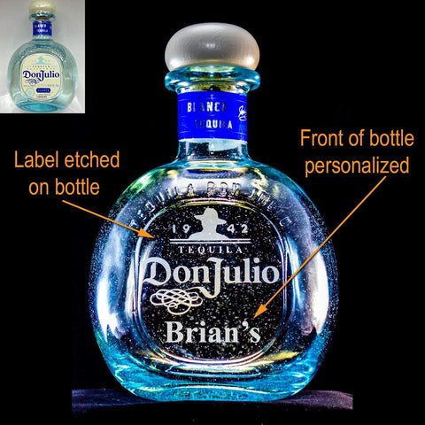 Don Julio Blanco Tequila Custom Engraved & Personalized Bottle Decanter, Empty Decanter Liquorware Gifts