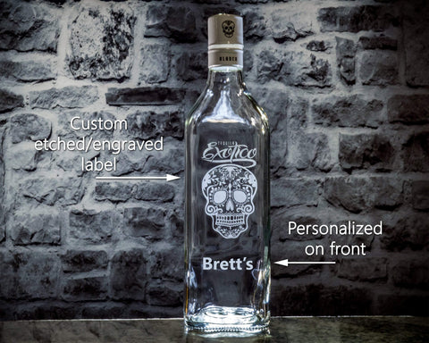Exotico Tequila Custom Engraved & Personalized Bottle Decanter, Empty Decanter Liquorware Gifts