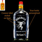 Fireball Whisky / Whiskey Custom Engraved & Personalized Bottle Decanter, Empty Decanter Liquorware Gifts