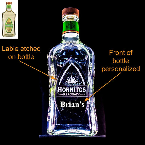 Hornitos Tequila Custom Engraved & Personalized Bottle Decanter, Empty Decanter Liquorware Gifts