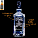 Jack Daniel's Whiskey Custom Engraved & Personalized Bottle Decanter, Empty Decanter Liquorware Gifts