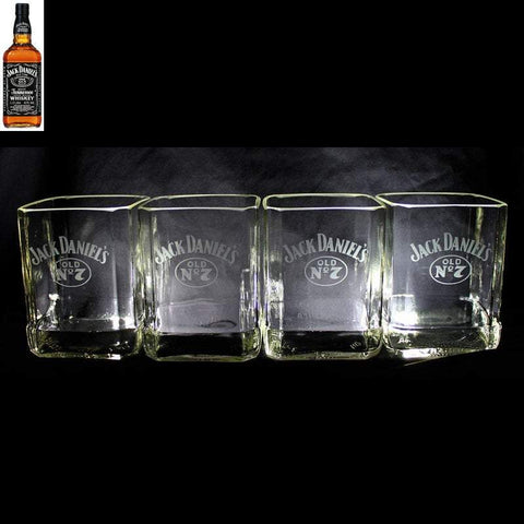 Jack Daniel's Whisky Premium Rocks Glasses (set of 4) Custom Engraved & Personalized Rocks glass Liquorware Gifts