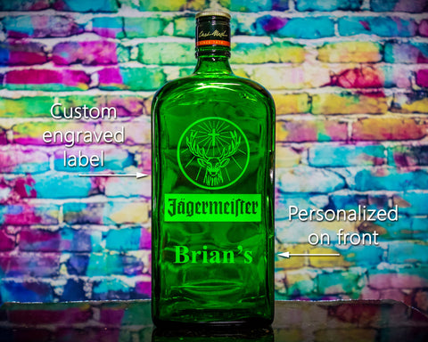 Jagermeister Custom Engraved & Personalized Bottle Decanter, Empty Decanter Liquorware Gifts