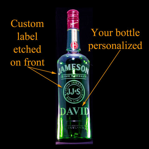 Jameson Whiskey Custom Engraved & Personalized Bottle, Empty Decanter Liquorware Gifts