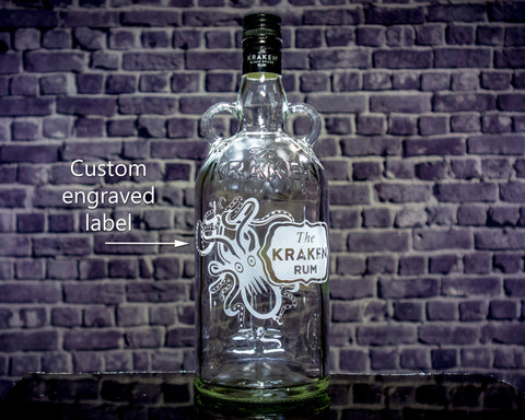 Kraken Rum Custom Engraved Personalized Bottle Decanter , Empty Decanter Liquorware Gifts
