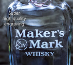 Maker's Mark Whisky Engraved Personalized Bottle-Decanter, Empty Decanter Liquorware Gifts