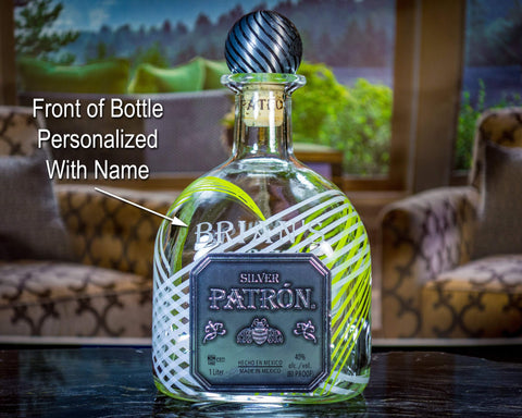 Patron Tequila Silver Limited-Edition Custom Engraved / Etched & Personalized Bottle, Empty Decanter Liquorware Gifts