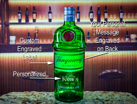 Tanqueray Gin Custom Engraved & Personalized bottle Decanter Liquorware Gifts