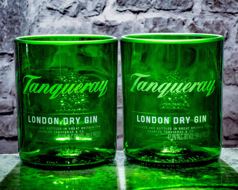 Tanqueray Gin Premium Rocks Glasses (Set of 2) Custom Engraved & Personalized Rocks glass Liquorware Gifts