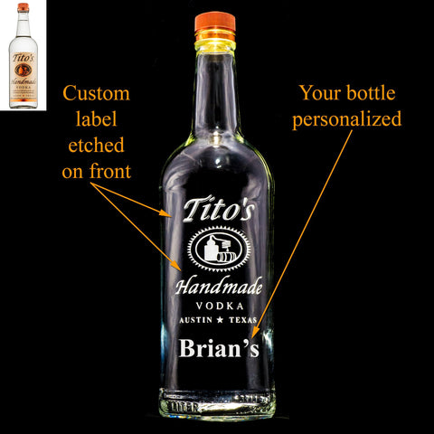 Tito's Vodka Custom Engraved Personalized Bottle Decanter, Empty Decanter Liquorware Gifts