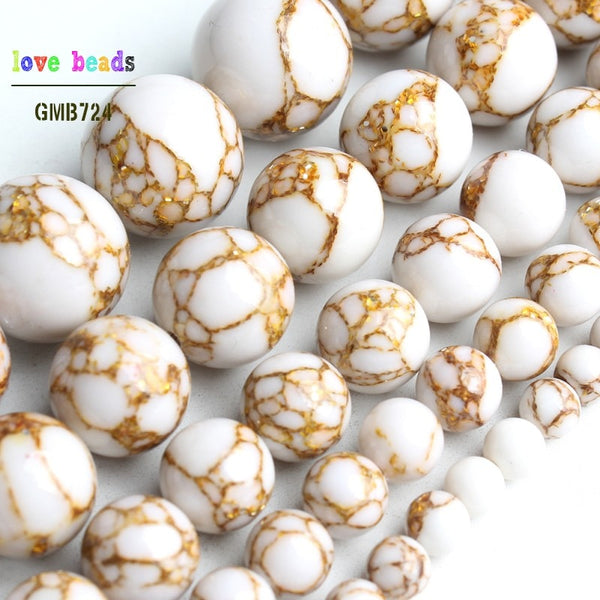 White Howlite Spun Gold Loose Stone Round Beads for Jewelry Making DIY Bracelet 15'' strand 4/6/8/10/12mm