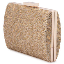Load image into Gallery viewer, Olga Berg Gabby Metallic Hot Fix Clutch - Gold