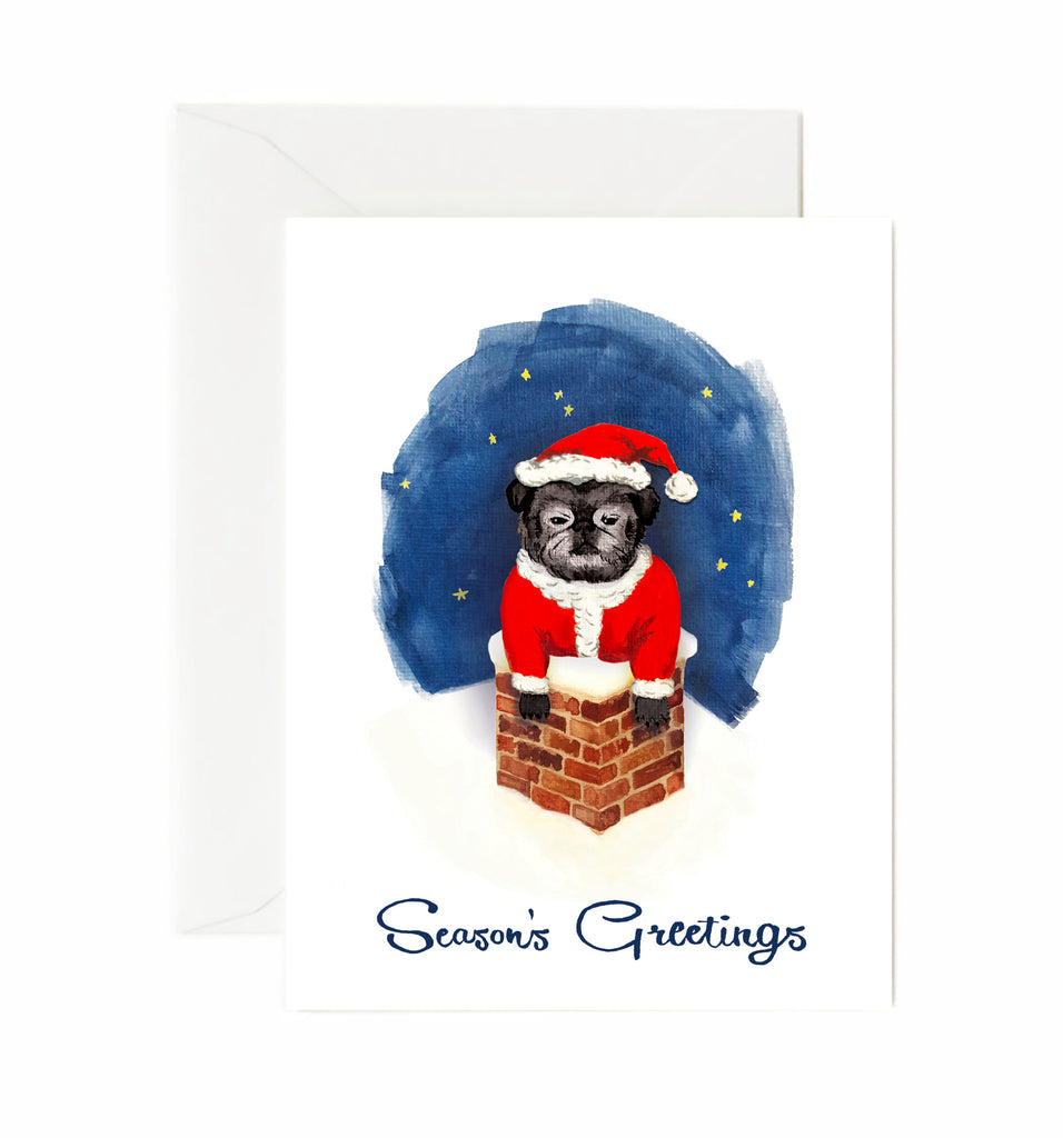 pug in chimney holiday card