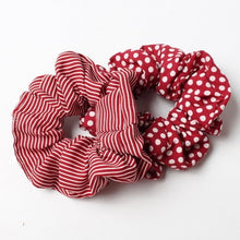 Load image into Gallery viewer, Stripes And Dots Scrunchie Duo