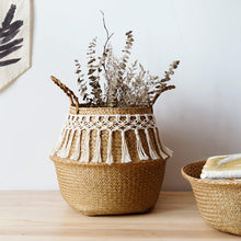 Load image into Gallery viewer, Boho Tassel Woven Basket