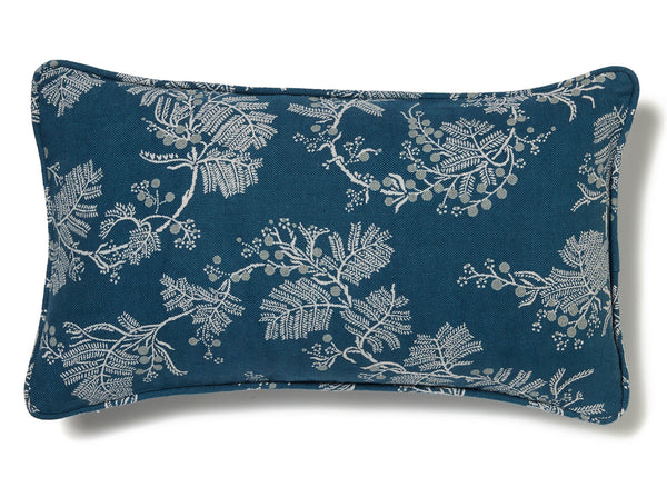 Wattle Blue Denim Linen Cushion Cover - 30 x 50