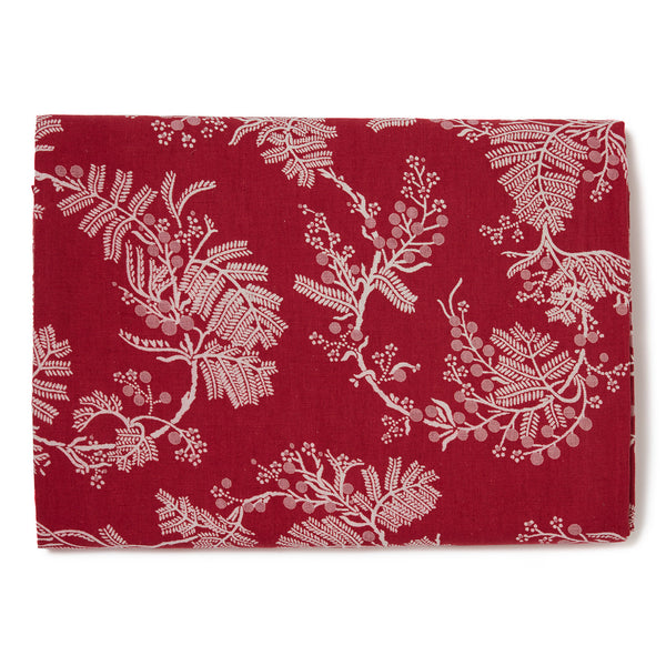 Pink Wattle Raspberry Linen/Cotton Tablecloth 8 Seater