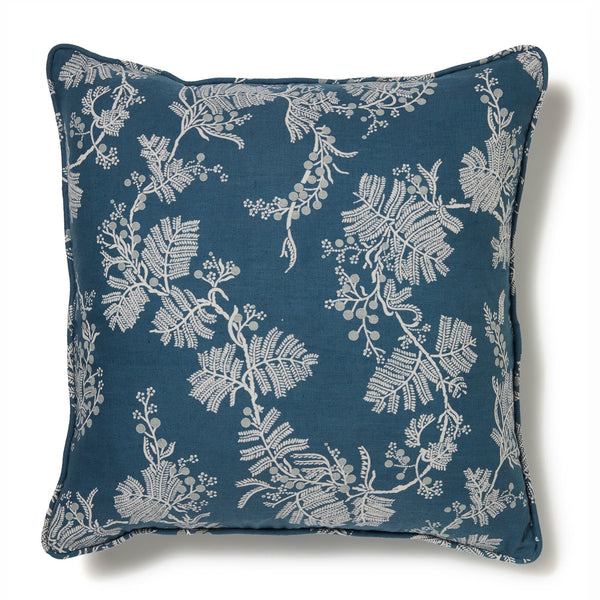 Wattle Blue Denim Linen Cushion Cover -50 x 50