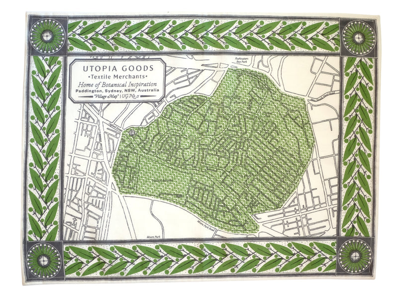 Paddington Map Green Teatowel