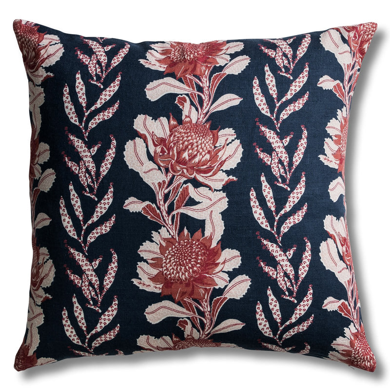 Imperial Waratah Indigo Cushion Cover – 60 x 60