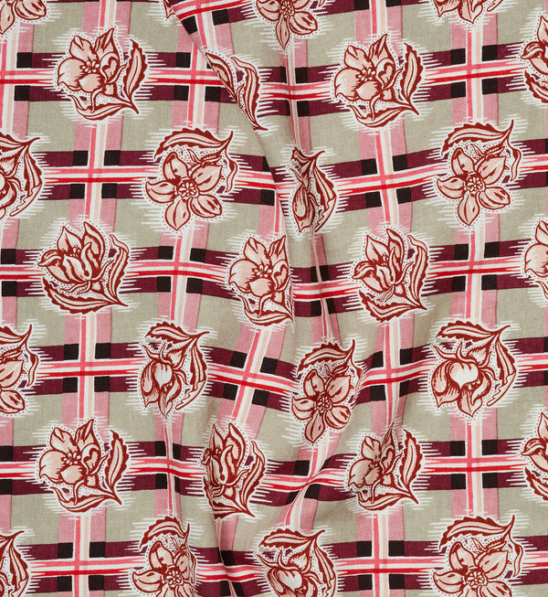 Madras Plum Furnishing Linen