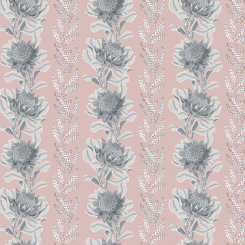 Imperial Waratah Blush Wallpaper