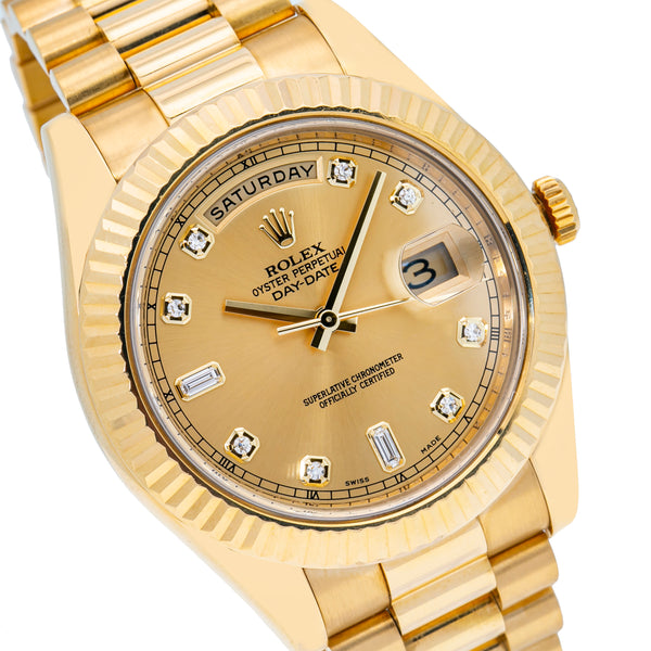 Rolex Day-Date II Yellow Gold Champagne Diamond Dial (Ref#218238)