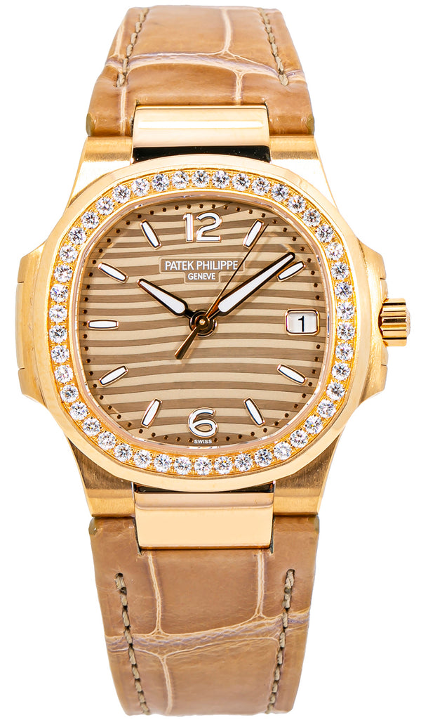 Nautilus Ladies/ Rose Gold/ Diamond Bezel/ Leather Strap (Ref#7010R-012)