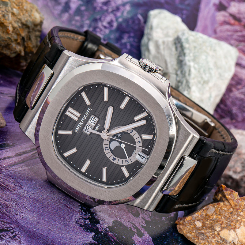Patek Philippe Nautilus Stainless Steel Moon Phase Black Leather Strap (Ref#5726A-001)