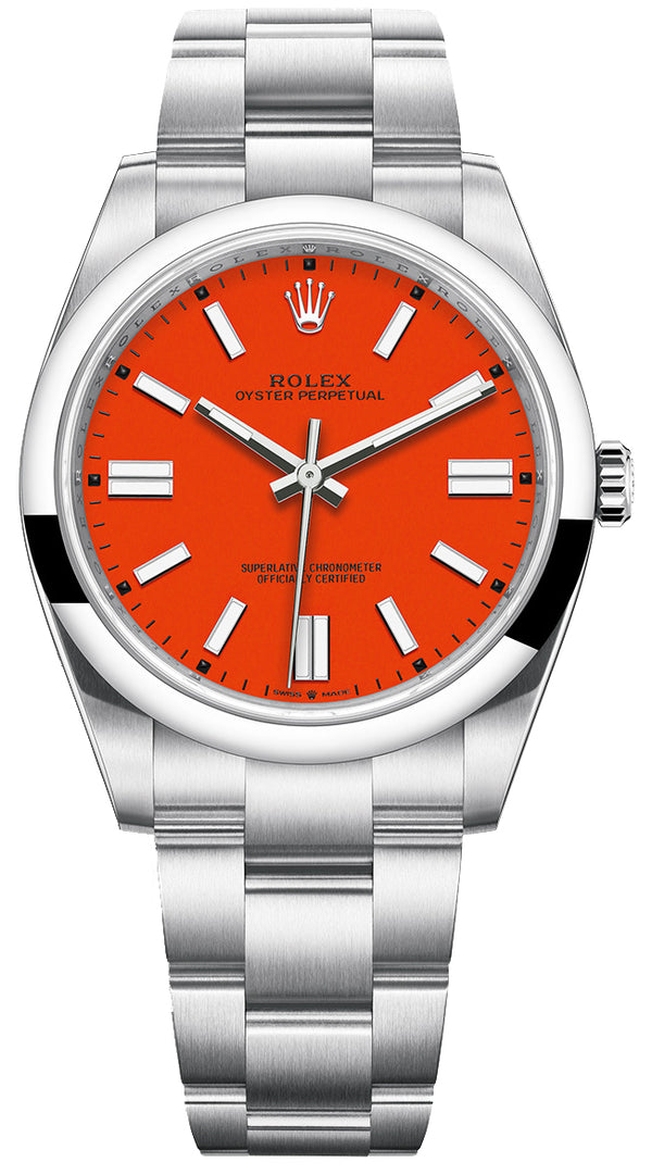 Oyster Perpetual 41 Stainless Steel/ Coral Red Index Dial/ Oyster Bracelet (Ref#124300)