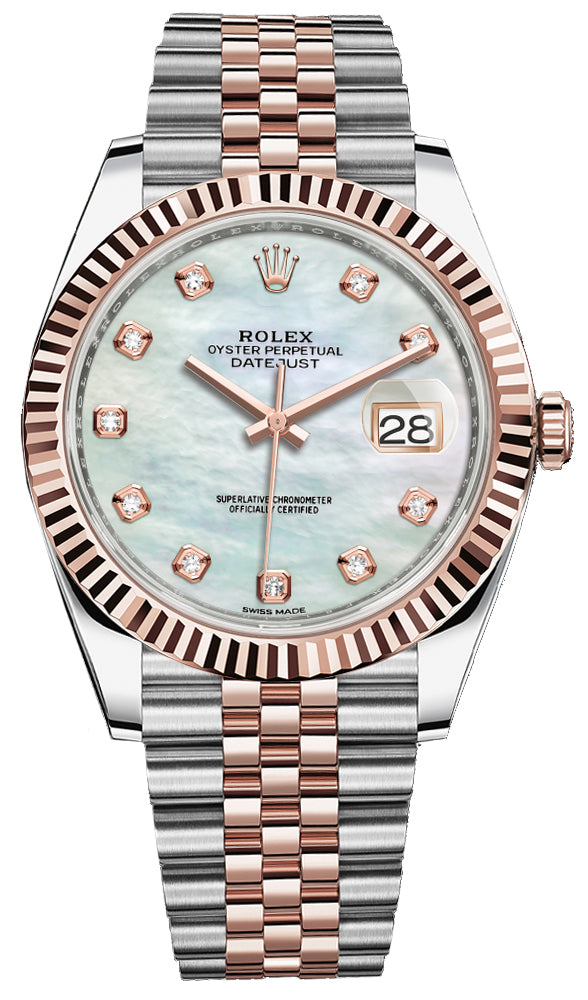 "Datejust 41 Two-Tone Stainless Steel and Rose Gold/ ""Mother of Pearl"" Diamond Dial/ Fluted Bezel/ Jubilee Bracelet (Ref#126331)"