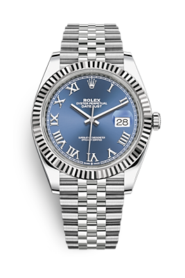 Rolex Datejust 41 White Gold and Steel with Blue Roman Dial Fluted Bezel (Ref#126334)