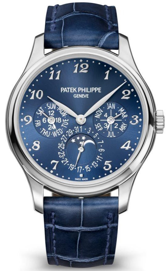 Patek Philippe Grand Complications Perpetual Calendar Moon Phase White Gold/ Royal Blue Dial & Strap (Ref#5327G-001)