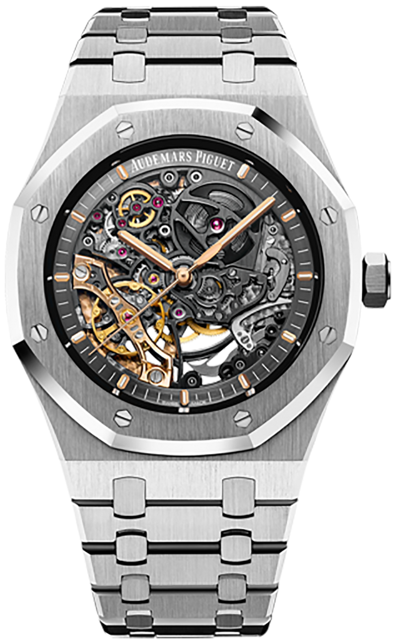 Audemars Piguet Royal Oak Double Balance Wheel Openwork Stainless Steel Skeleton Dial (Ref#15407ST.OO.1220ST.01)