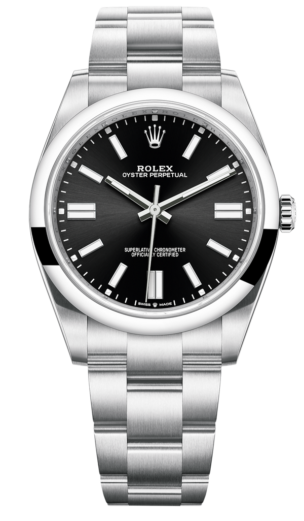 Rolex Oyster Perpetual 41 Stainless Steel/ Black Dial Index Dial/ Oyster Bracelet (Ref#124300)