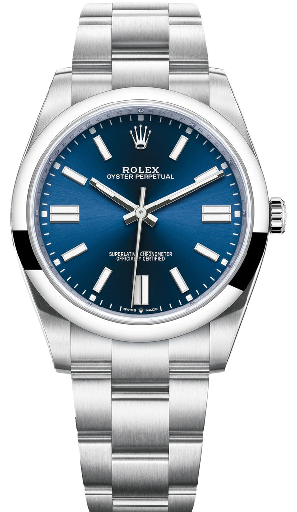 Rolex Oyster Perpetual 41 Stainless Steel/ Blue Index Dial/ Oyster Bracelet (Ref#124300)