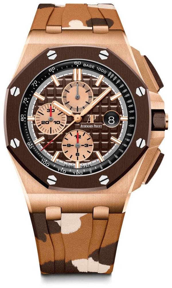 Audemars Piguet Royal Oak Offshore Selfwinding Chronograph/ 18K Rose Gold/ Camouflage Strap/ Brown Ceramic Bezel (Ref#26401RO.OO.A087CA.01)
