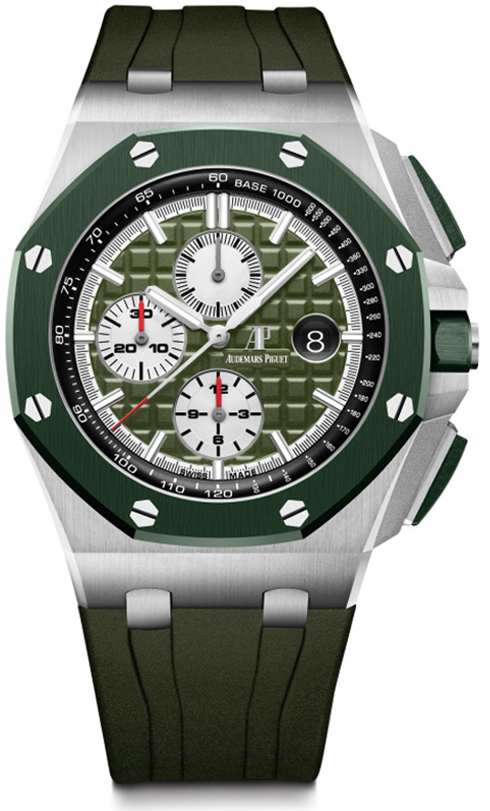 Audemars Piguet Royal Oak Offshore Selfwinding Chronograph/ Stainless Steel/ Camouflage Strap/ Green Dial/ Green Ceramic Bezel (Ref#26400SO.OO.A055CA.01)