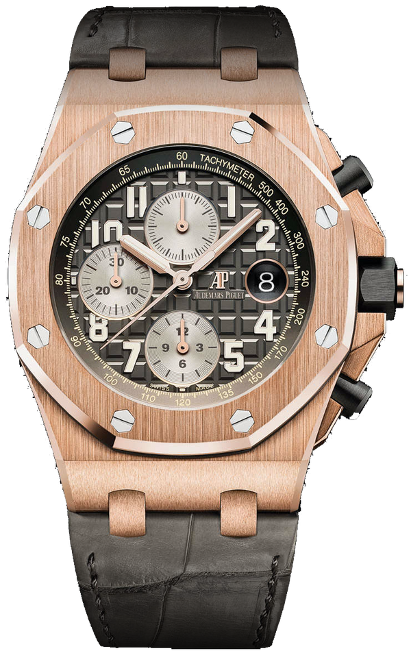 Royal Oak Offshore Chronograph Rose Gold Crocodile Skin Bracelet (Ref#26470OR.OO.A125CR.01)